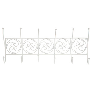 White Circle Scroll Metal Wall Decor With Hooks